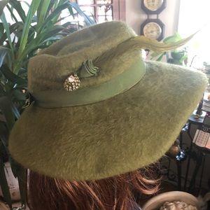 Vintage Green Brushed Wool Hat